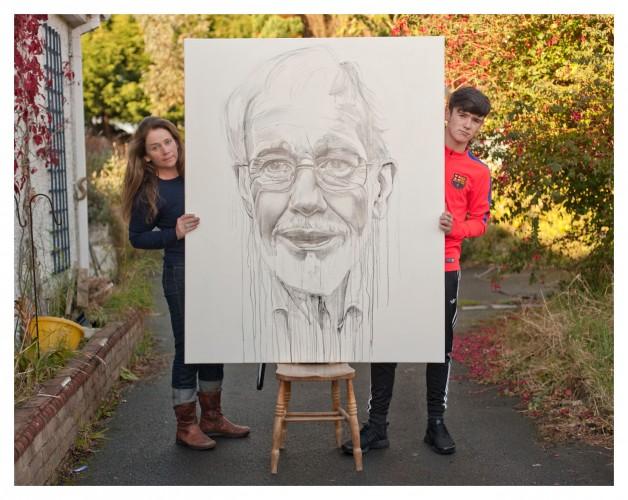 11. portrait pencil, ink on canvas