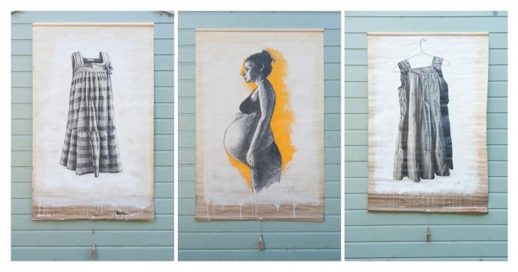 9. Laundry girl. crayon, acrylic on blinds.
